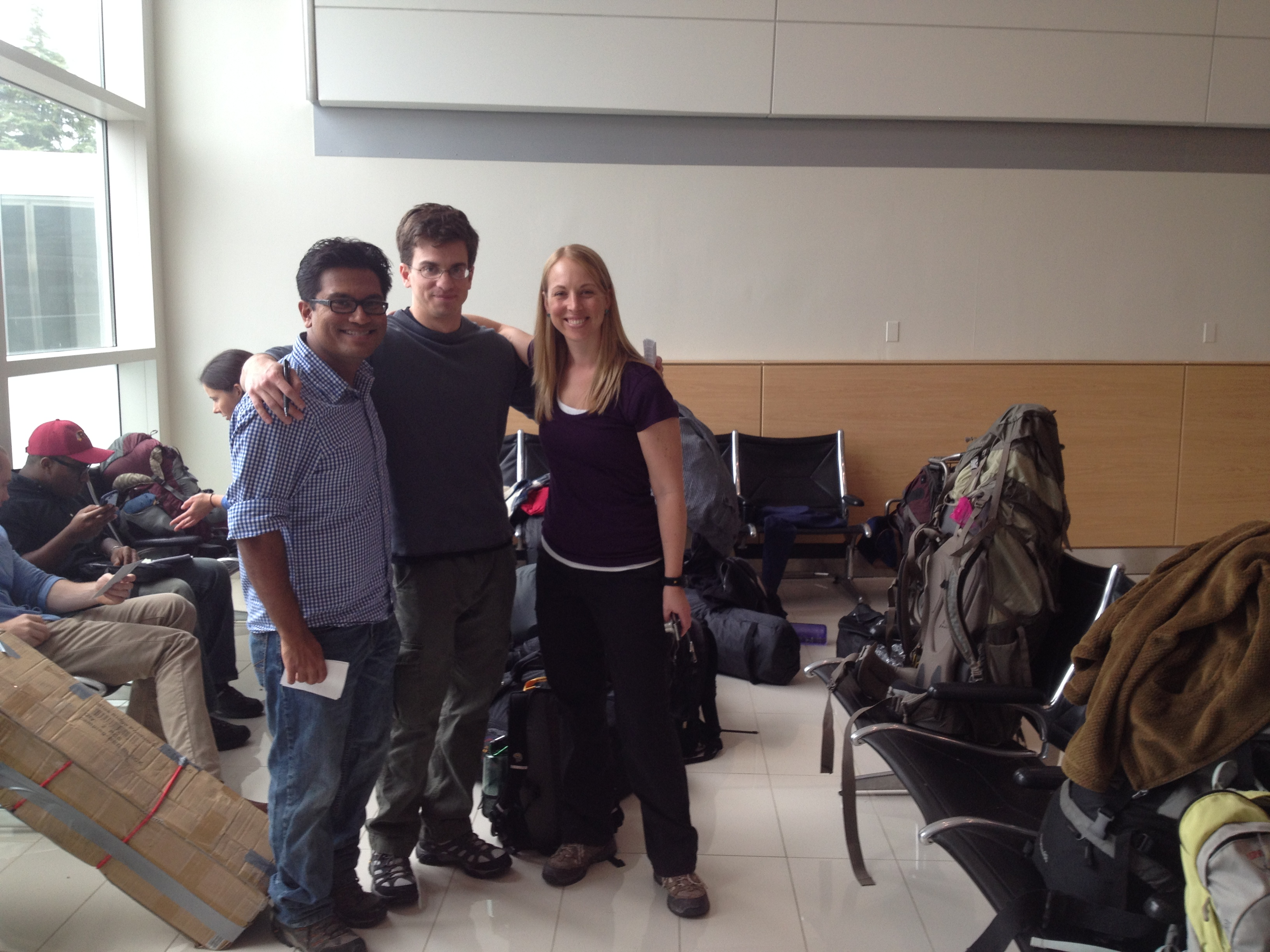 L-R: Rahul, Gavin, and Lauren at the airport waiting to check in.